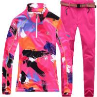 春秋户外女款登山衣裤套装徒步迷彩服装速干衣长袖运动短袖快干裤