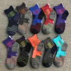5双25元男女式毛巾底中筒袜户外篮球袜跑步运动袜防臭吸汗袜子