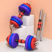 哑铃男健身器材家用 杠铃套装练臂肌 可调节重量拆卸30kg一对包胶