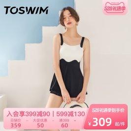 TOSWIM连体泳衣女夏遮肚显瘦韩国ins保守泳装2021新款温泉游泳衣