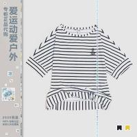 AIGLE女士户外速干条纹T恤k2844malloran2847艾高防晒短袖polo衫